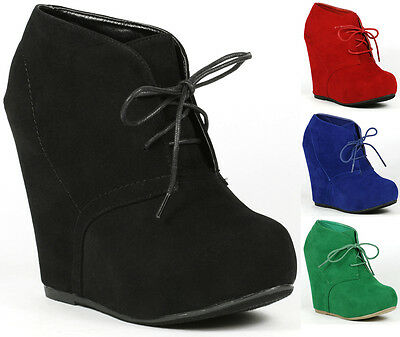 Lace Up High Heel Platform Wedge Ankle Bootie Boot Bamboo Debrah-01N