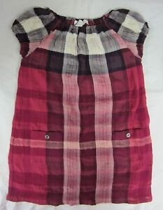 BURBERRY GIRLS' CHECK PLAID DELTA DRESS FRITILLARY PINK SIZE 2 YEARS NWT $250
