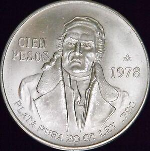 1978-MS-Mexico-Silver-100-Pesos-KM-483-2-Free-Shipping