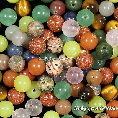 6mm mixed Natural nature stone Gemstone Round Ball Loose Beads 50pcs