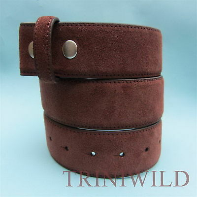 Snap on Belt Suede Leather Brown