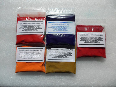 Concentrated Food Colouring Powder 25g All Colours NEW Water Soluble Colour Pack