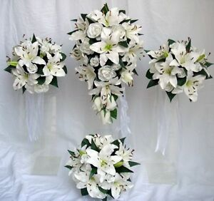 WEDDING BOUQUET SET, WHITE LILY & ROSES, REAL TOUCH | eBay