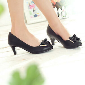 Free-S-H-Black-Sexy-Womens-PU-Leather-Low-Heels-Pumps-Shoes-US-Size-5-9-Ws018