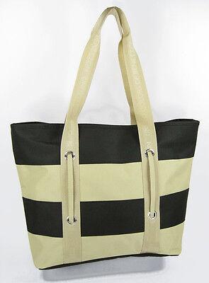 BEACH bag tote NAUTICAL striped grocery ZIPPERED summer