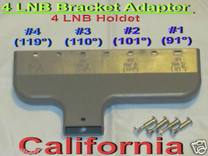 DirecTV-LNB-Bracket-Adapter-Quad-4-Dish-LNBF-Multi-Yoke-Holder-FTA-Mounts-4-DSS