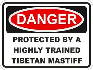 1x-DANGER-PROTECTED-BY-TIBETAN-MASTIFF-WARNING-FUNNY-STICKER-DOG-PET-Aufkleber