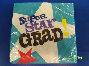 Superstar Grad Graduate Graduation Party Paper Beverage Napkins