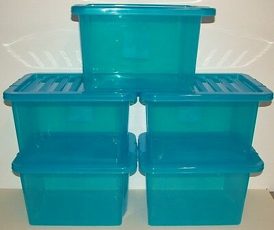 5 x Plastic storage boxes medium 24 litre take A4 paper, blue, with lids, new