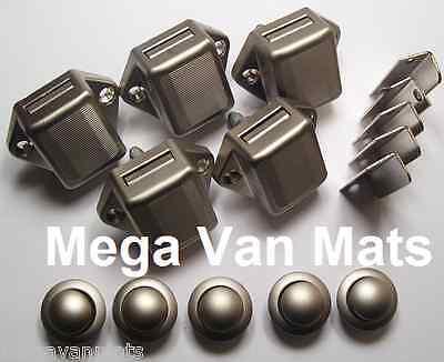 5 x Mini Push Button Lock / Door Catch in Nickel - Caravan Motorhome Campervan