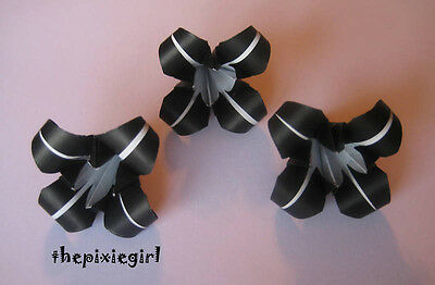 ORIGAMI PAPER HANDMADE 12 FOLDED IRIS FLOWERS BLACK AND WHITE
