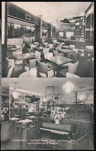 BINGHAMTON-NY-Community-Coffee-Shop-amp-Lounge-Piano-Bar-Restaurant-Vtg-Postcard