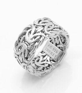 bold mirrored byzantine band ring anti tarnish platinum