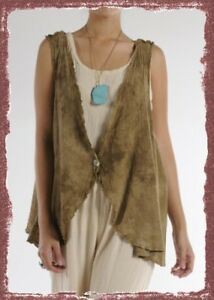 OH-MY-GAUZE-Cotton-Lagenlook-VEST-Top-OS-PLUS-chz-COLOR