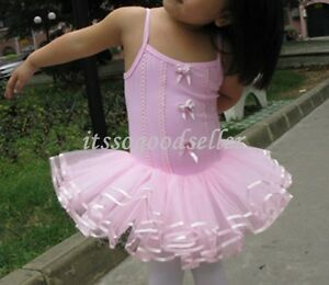 Girl-New-Party-Leotard-Ballet-Tutu-Skirt-Dress-SZ-2-7Y