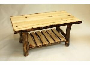 Amish Rustic Log Coffee Table Solid Aspen Slab Wood Cabin
