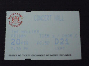 THE-HOLLIES-1987-Tour-NOTTINGHAM-20-FEB-87-Used-Ticket-stub