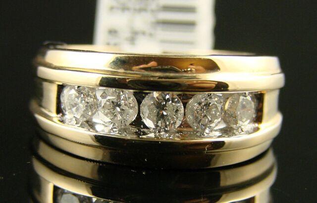 14K Mens Channel Round Diamond Wedding Band Ring 1.0 Ct