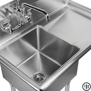 18 X 18 Utility Sink : ... Stainless Steel Prep Sink with Right Side Drain Board- 18