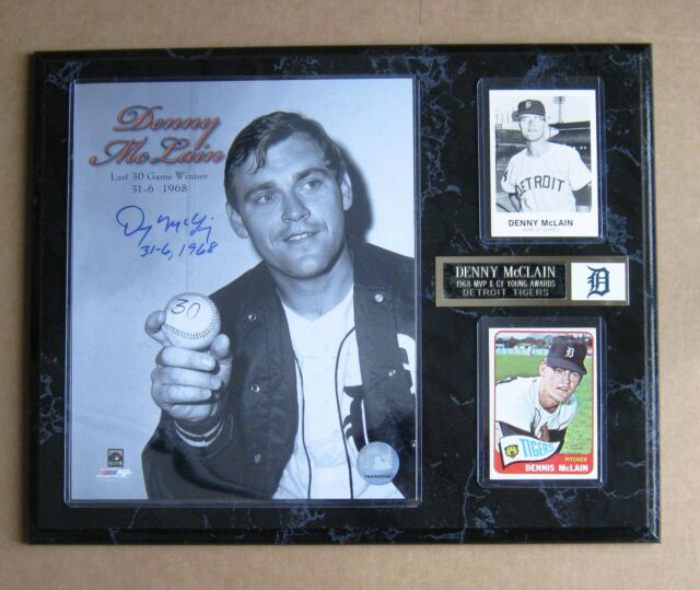 Denny McLain 1968 MVP & Cy Young Awards / Last 30 Gamer Signed Photo Plaque  !