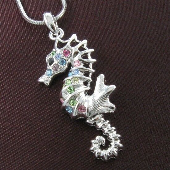 Seahorse Animal Necklace Chain Multicolor Crystal Silver Tone Kids Charm Pendant