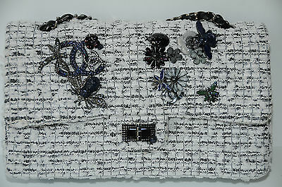 NEW CHANEL CLASSIC FLAP FANTASY TWEED EVENING GARDEN CHARMS BLACK WHITE BAG