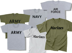 PT-T-Shirt-Gray-or-OD-Army-Marine-Navy-Air-Force-Physical-Training-Tee-XS-4XL