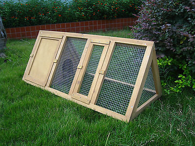 WOODEN OUTDOOR RABBIT GUINEA HUTCH APEX RUN WITH ENCLOSURE 4 FT RABBIT CAGE COOP