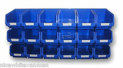 PLASTIC STORAGE BIN BOX SET OF BINS AND STEEL PANEL  BLUE BINS    BK31