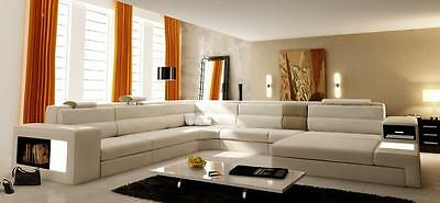 Modern 5022 Polaris White Bonded Leather Sectional Sofa Contemporary Chic