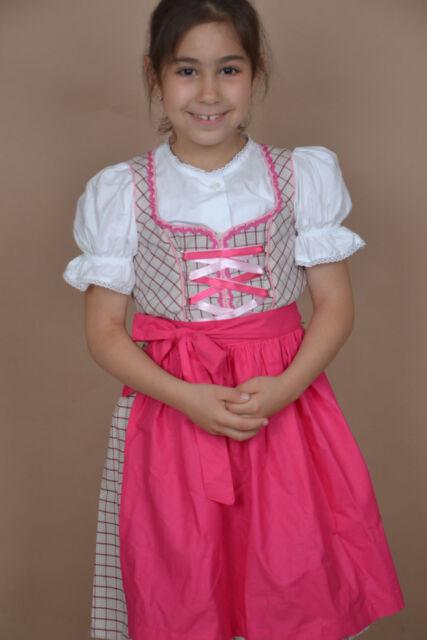 Kinder Dirndl Set 3tlg. K03gt Pink Kariert Gr.134,140,146,152,158,164,170