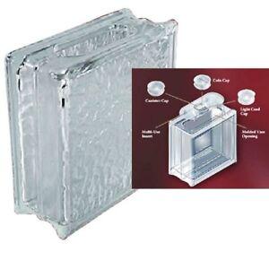Decobloc ice pattern glass block 8x8x3 with insert cap ebay for Where to buy glass block windows