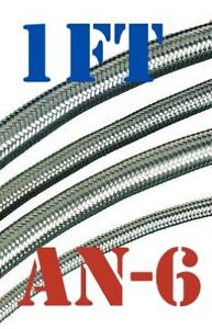 """-6 AN 5/16"""" Braided Stainless Steel PTFE TEFLON Fuel Line Hose 1 FT USA Stocked"""