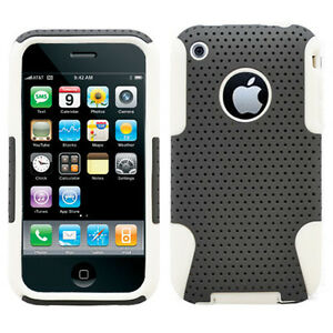APPLE-IPHONE-3G-3GS-SPORTY-HYBRID-2in1-CASE-GREY-WHITE