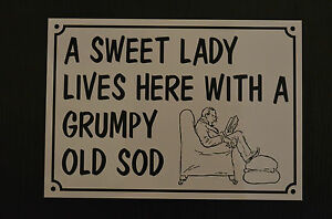 a-sweet-lady-funny-house-sign-plastic-A5-HOLED-DRILLED-xmas-birthday-present