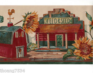 Country birdhouse sunflower store school seed feed wall paper border