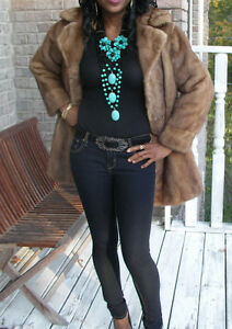Elegant-Vtg-Genuine-EMBA-Mink-Crop-brown-Mink-Fur-bolero-coat-jacket-Stroller-S