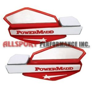 Snowmobile-Star-Handguards-Hand-Guards-with-Handlebar-Mounts-Red-amp-White
