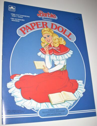 "Golden 1984 Barbie ""Fantasy"" Paper Doll Book Pre-Cut Fashions *UNCUT*"