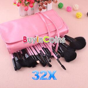 New-Beautiful-Professional-Beauty-Up-Pink-Makeup-Brush-32-Pcs-Set-With-Case