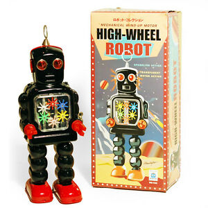 GEAR-ROBOT-Retro-Tin-Collectable-Ornament-Black-TMS436