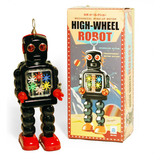 GEAR ROBOT - Retro Tin Collectable Ornament - Black TMS436