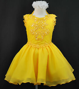 BABY-amp-GIRL-NATIONAL-GLITZ-PAGEANT-FORMAL-PARTY-SHORT-DRESS-YELLOW-6-M-7-YRS-OLD