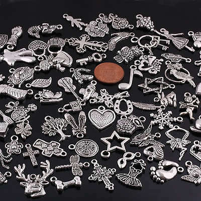 Wholesale Mixed Styles Tibetan Silver Pendant Charms Beads Jewelry Craft Finding