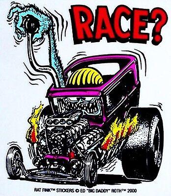 Rat Fink  RACE ?  Decal Hot Rod Sticker  Street Race Muscle Car Drag Strip Moon
