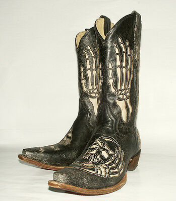 Skull & Bone Inlay Corral Men's  Black Crackle Western Boot A2302 Rock Band BOOT