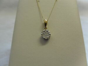 9ct-Yellow-Gold-25pt-1-4ct-Diamond-Set-Cluster-Pendant