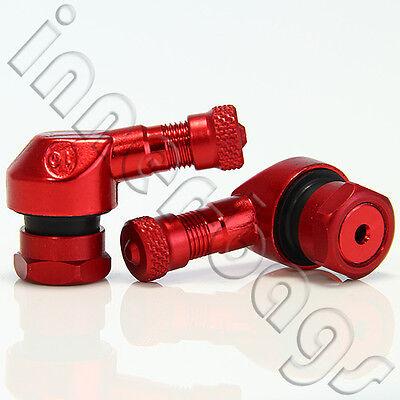 2 x Motorrad-Alu-Winkelventil 11,3mm ROT Ventile, angle valve, tire valve