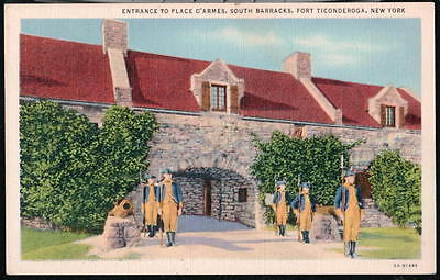 FORT TICONDEROGA NY South Barracks Place D'Armes Entrance Vtg Linen Postcard Old