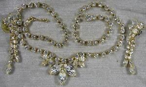 1950-s-Vintage-Necklace-amp-Pierced-Earrings-Set-Real-Nice-Prong-Set-Crystal-Rhine